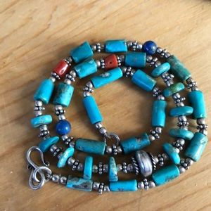 Sterling Native American Turquoise,Coral,Necklace